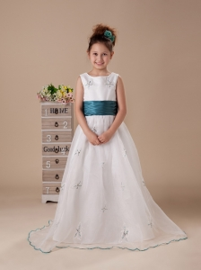 Scoop Organza Embroidery Fashionable Wedding Party Flower Girl Dress For 2013 Custom Made