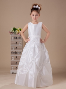 Scoop Taffeta Sashes / Ribbons White Column / Sheath 2013 Flower Girl Dress