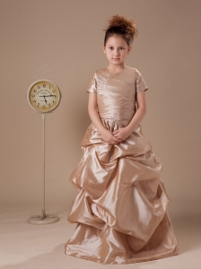 Short Sleeves Flower Girl Dress High Neck Beaded Taffeta Custom Made 2013  New Styles