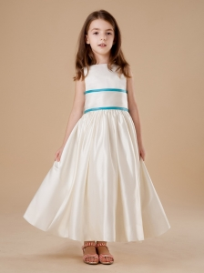 Simple Scoop A-Line White Ankle-length Taffeta Flower Girl Dress