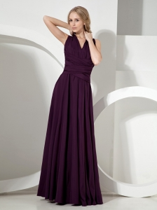 Simple V-neck Dark Purple Chiffon Bridesmaid Dress