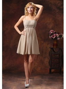 Spaghetti Straps Neckline Bridesmaid Dress With Mini-length Chiffon