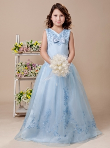 Sweet V-neck Embroidery Taffeta Blue 2013 Flower Girl Dress