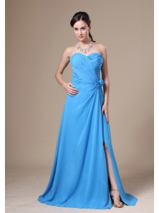 Teal High Slit Sweetheart Neckline Ruch and Flowers Decorate Bridesmaid Dress