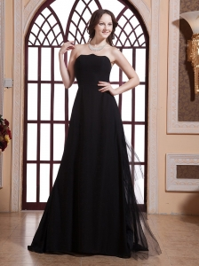 Tulle Black and Strapless For Prom Dress Prom Evening Dress