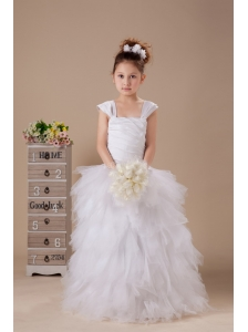 Tulle Ruffles Square Neckline Wedding Party 2013 Custom Made Hottest Flower Girl Dress