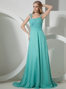 Turquoise Brush Train Gorgeous Evening Dress With Beaded and Ruch Decorate Straps Chiffon