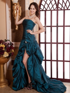 Teal Ruched Bodice and High Slit For Prom Dress With Brush Train