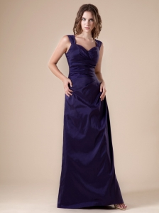 V-neck Floor-length Purple Satin 2013 Bridesmaid Dress