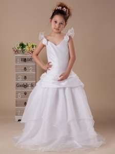 V-neck Hand Made Flowers Organza Sweep Wedding Party Stylish Flower Girl Dress For 2013 Custom Made