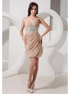 V-neck Neckline Mini-length Beaded and Ruch Decorate Champagne Prom Dress