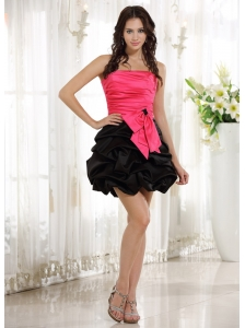Wholesale Red and Black Ruched Bodice Prom Cocktail Dress With Pick-ups 2013
