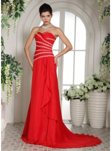 Wholesale Red Sweetheart Luxurious 2013 Prom Dress With Brush Train