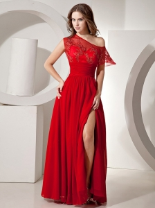 Wine Red High-slit Sweetheart Chiffon Prom / Evening Dress 2013