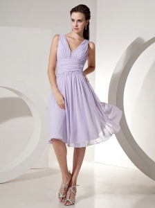 2013 Lilac Column Bridesmaid Dress V-neck Knee-length Chiffon Ruch