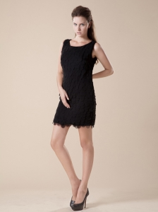 2013 Scoop Layers Mini-length Little Black Dress
