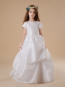 A-Line Taffeta Flower Girl Dress A-Line Scoop Beading Short Sleeves