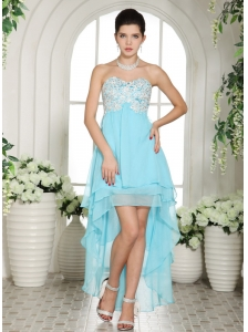 Aqua Blue Appliques Sweetheart High-low Prom Dress For Custom Made
