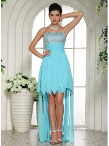 Aqua Blue Beaded Empire Sweetheart 2013 High-low Prom Dress For Custom Made