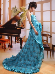 Aqua Blue Strapless Taffeta Court Train 2013 Prom Gowns Custom Made