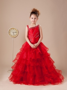 Asymmetrical A-Line Beading 2013 Flower Girl Dress Organza Floor-length