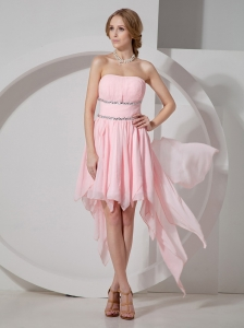 Asymmetrical Baby Pink Prom Dress Hot With Strapless Neckline Beaded Decorate