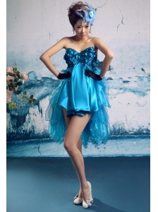 Baby Blue Ruffles V-neck Empire Mini-length Celebrity Prom Gowns With Organza Customize