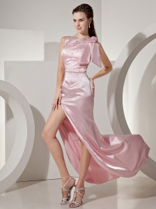 Baby Pink Bateau High-Slit Beaded Prom / Evening Dress For Custom Made