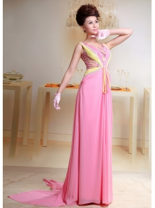 Baby Pink Beaded Chiffon Prom Dress With Watteau Train