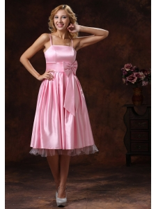 Baby Pink Spaghetti Straps Lovely Bridesmaid Dress With Sash Tea-length