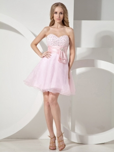 Baby Pink Sweetheart Neckline With Beaded Decorate Organza Princess Prom Dress