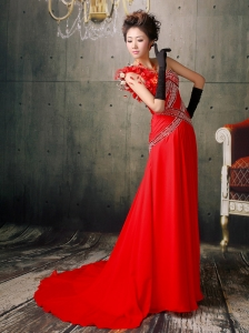 Beaded and Hand Made Fowers One Shoulder Prom / Evening Dress With Brush Train