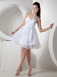 Beaded Decorate Shoulder Organza White Princess Prom Dress