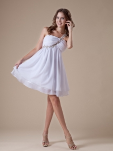 Beaded Decorate Shoulder White Chiffon Princess Prom Dress