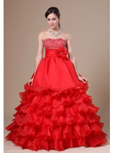 Beaded Decorate Strapless Hand Made Flower Ruffled Layers Red Floor-length 2013 Prom / Evening Dress