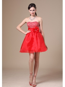 Beading and Hand Made Flower A-line Red Organza Mini-length 2013 Wedding Dress