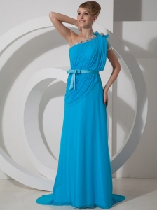 Beading One Shoulder 2013 Prom Dress Chiffon Empire Aqua Blue