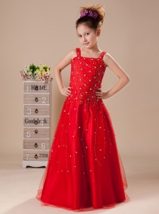 Beading Red Straps A-Line Flower Girl Dress Tulle Floor-length