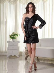 Beading Taffeta One Shoulder Mini-length Column / Sheath Black Prom Dress Long Sleeve