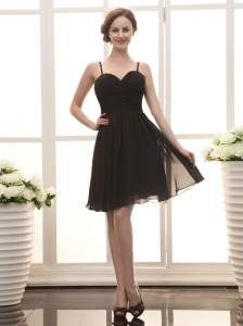 Black Chiffon Spaghetti Straps Empire Simple Custom Made Prom Gowns
