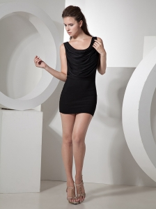 Black Column Scoop Mini-length Cocktail Dress For Club