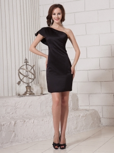 Black Satin Column One Shoulder One Short Sleeves Stylish 2013 Prom Gowns