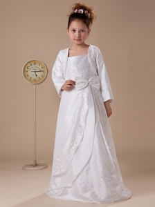 Bowknot Straps Embroidery Taffeta Hottest Custom Made Flower Girl Dress For 2013