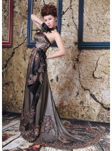 Brown Appliques Prom / Evening Dress With Court Train