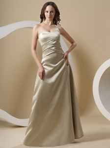 Champagne Bridesmaid Dress With Sweetheart Floor-length