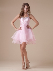 Custom Made Baby Pink Short Prom Dress With Halter Neckline Beaded and Ruch Decorate