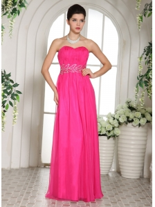 Custom Made Column Hot Pink Sweetheart Prom Celebrity Dress With Ruch and Beading
