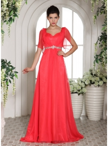 Custom Made Coral Red Square Beading 2013 Prom Dress