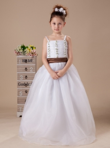 Customize Straps A-Line Beaded Organza Wedding Party Flower Girl Dress