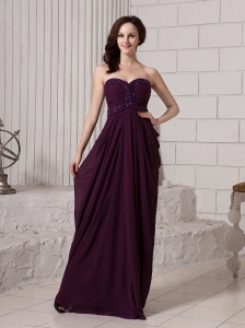 Dark Purple Chiffon Sweetheart Beaded Decorate Waist Stylish Custom Made Evening Dress